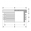 Inslagdop 25 x 25 x 1,0/2,0 zwart PE