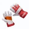 Handschoen rundsplitleder rood/grijs palmversterkt maat 8