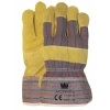 Worker 1.11.051.00 handschoen rundspitleder met rood/blauw gestreept doek, maat 10